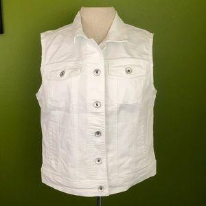 Merona White Denim Sleeveless Jacket, NWT